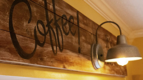 Rustic Kitchen Sign With Light